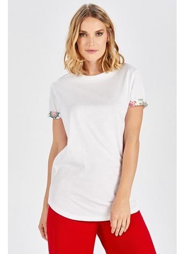 Peraluna Peraluna Kol Ucu Desenli Uzun Beyaz Pamuklu Kadın T-Shirt Beyaz